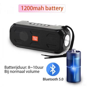 T&G Bluetooth speaker FM Radio - Zaklamp - Zonnepaneel oplaadbaar