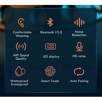 TWS Bluetooth 5.0 - draadloze oordopjes met microfoon - 2200MaH Accu oplaadbaar